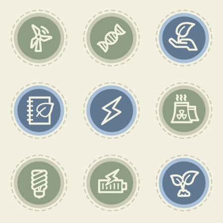 Ecology web icon set 5, vintage buttons Vector