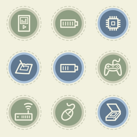 Electronics web icon set 2, vintage buttons Vector