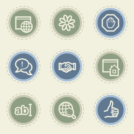 icq: Internet  web icon set 1, vintage buttons