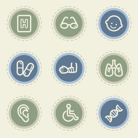 traumatic: Medicine web icon set 2, vintage buttons Illustration