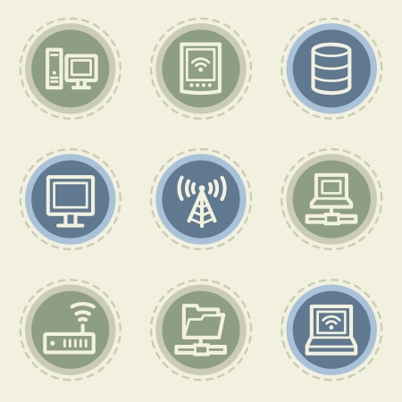 nettop: Network web icon set, vintage buttons