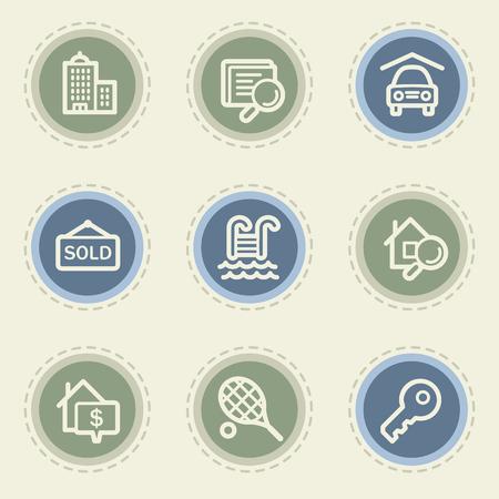 Real estate web icon set, vintage buttons Illustration