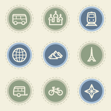 Travel web icon set 2, vintage buttons Vector