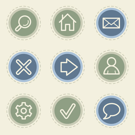 Basic web icon set, vintage buttons Vector