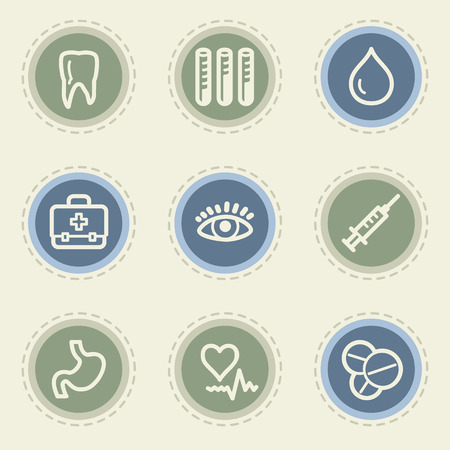 Medicine web icon set 1, vintage buttons Vector