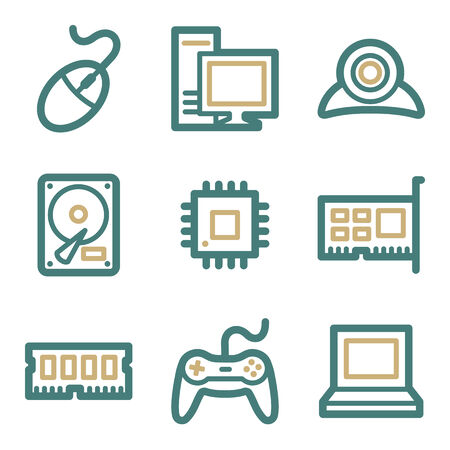 nettop: Computer web icons, two color series