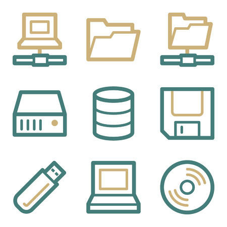 fdd: Drive storage web icons, two color series