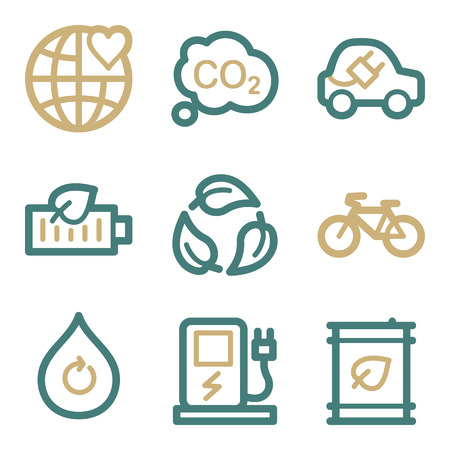 electro world: Ecology web icons, two color series