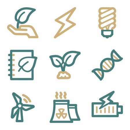 ahorro energia: Ecología web iconos, dos series de color