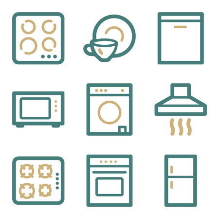 gas laundry: Home appliances web icons, two color series