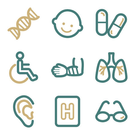 Medicine web icons, two color series Vector