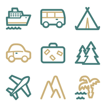 air liner: Travel web icons, two color series