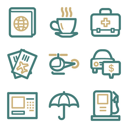 Travel web icons, two color series Vector