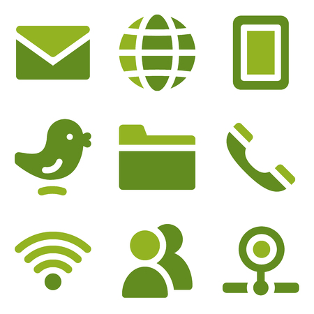 webcamera: Communication web icons set, green series Illustration
