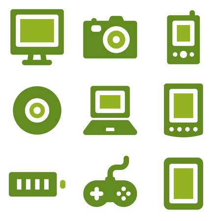 Electronics web icons set, green series Vector