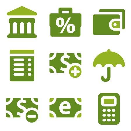 Finance web icons set, green series Vector