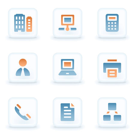 Office web icons, white glossy buttons Vector