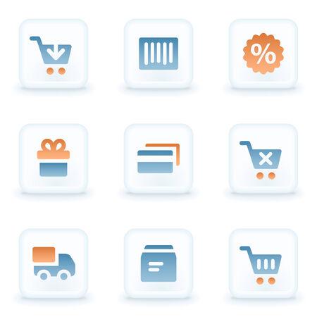 glossy buttons: Shopping web icone, pulsanti lucidi bianchi Vettoriali