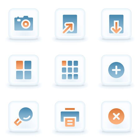 glossy buttons: Image viewer web icons, white glossy buttons Vettoriali