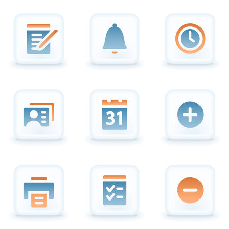 Organizer web icons, white glossy buttons Vector