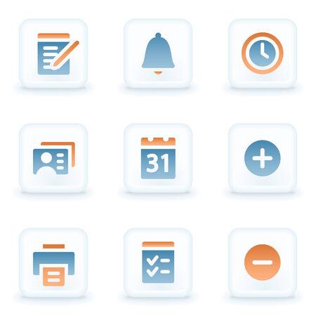 glossy buttons: Pulsanti di organizzatore web icone, bianco lucidi
