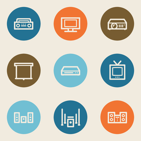 Audio video web icons, color circle buttons Vector