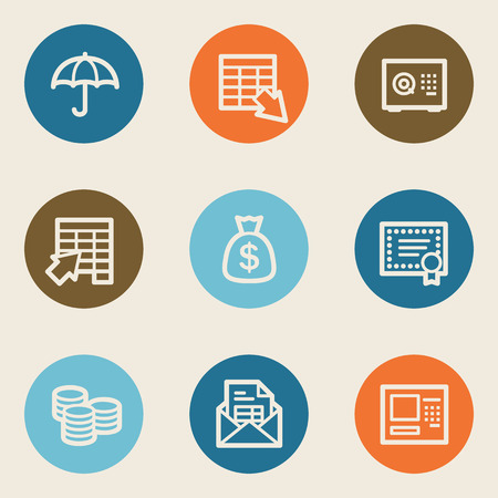 Banking web icons, color circle buttons Vector