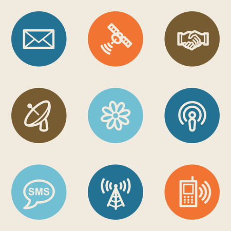 access point: Communication web icons, color circle buttons Illustration