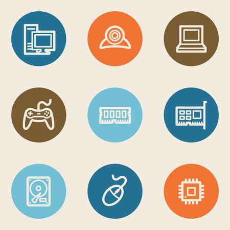webcamera: Computer web icons, color circle buttons