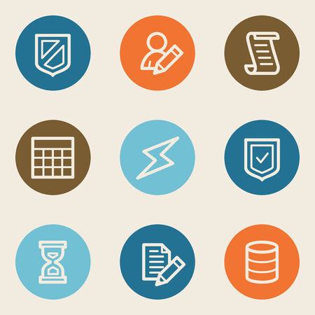 Database web icons, color circle buttons Vector
