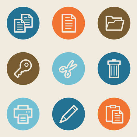 Document web icon set 1, color circle buttons Vector