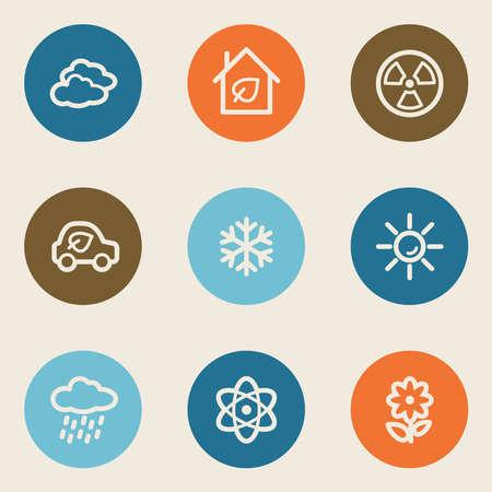 Ecology web icon set 2, color circle buttons Vector
