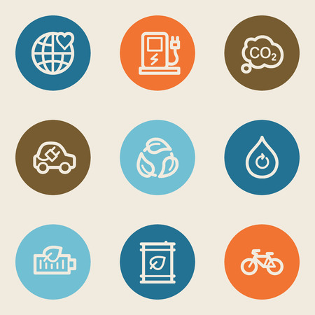 electro world: Ecology web icon set 4, color circle buttons