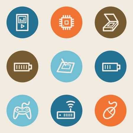 Electronics web icon set 2, color circle buttons Vector