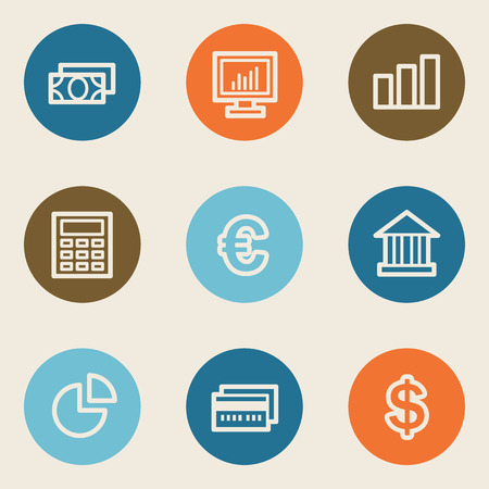 Finance web icon set 1, color circle buttons Vector
