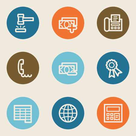 Finance web icon set 2, color circle buttons Vector