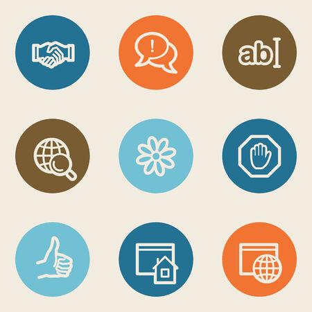 icq: Internet web icon set 1, color circle buttons