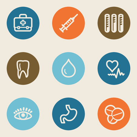 oculist: Medicine web icon set 1 , color circle buttons Illustration