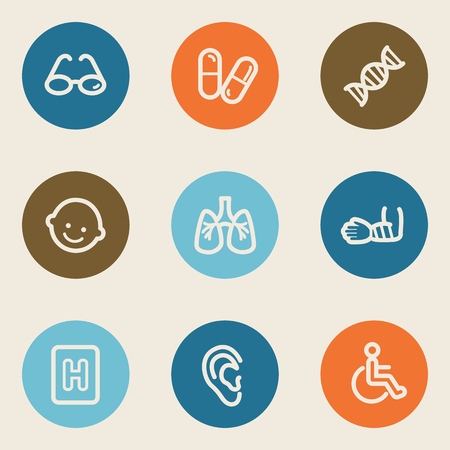 Medicine web icon set 2 , color circle buttons Vector