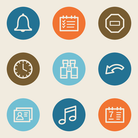 Organizer web icons , color circle buttons Vector