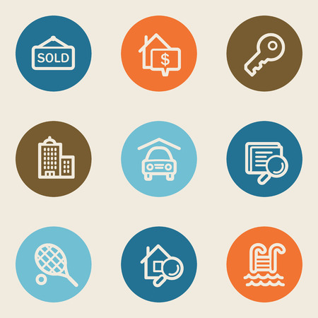 real tennis: Real estate web icons , color circle buttons