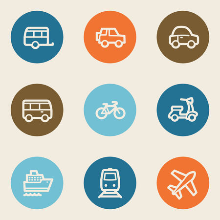 Transport web icons, color circle buttons Vector