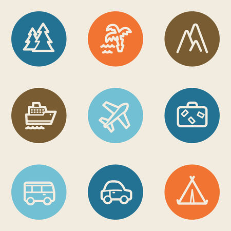 Travel web icon set 1, color circle buttons Vector