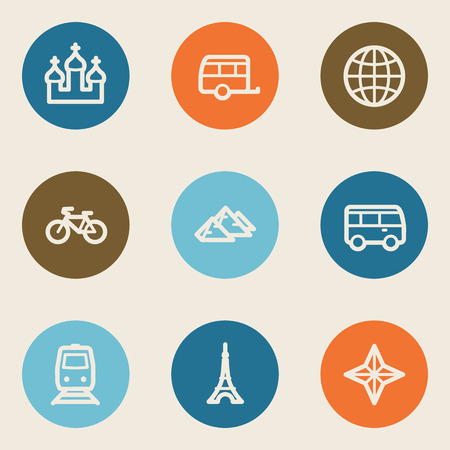 Travel web icon set 2, color circle buttons Vector