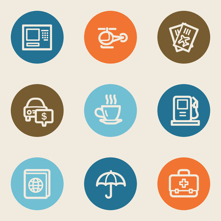 Travel web icon set 4, color circle buttons Vector