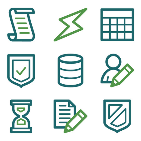 Database web icons, green line set Vector