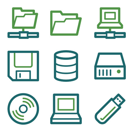 fdd: Drive and storage web icons, green line set