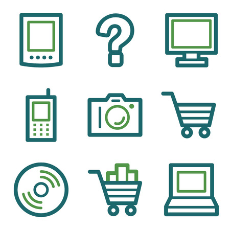 Electronics web icons, green line set Vector