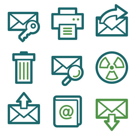webmail: Email web icons, green line set
