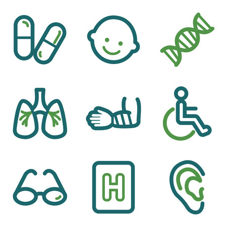 Medicine web icons, green line set Vector